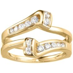18k Gold 1/3ct TDW Diamond Classic Bypass Twist-style Jacket Ring Guard (G-H, SI2-I1) (18K Yellow Gold, Size 9), Women's
