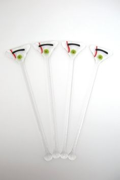 Glass Cocktail Stirrers / Swizzle Sticks / Drink by WoodAndGlass, $20.00