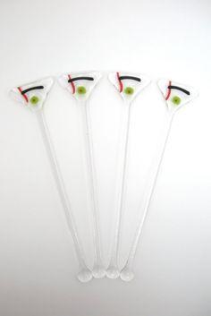 Glass Cocktail Stirrers / Swizzle Sticks / Drink by WoodAndGlass, $20.00
