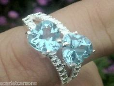 Two Hearts That Beat As One Topaz And Sterling Silver Ring Size N RRP £192