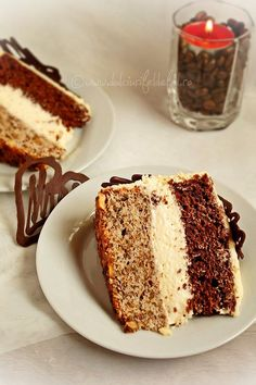 Chocolate & Walnut Cake with Mascarpone Cream Sweets Recipes, Easy Desserts, Delicious Desserts, Cake Recipes, Romanian Desserts, Romanian Food, Homemade Sweets, Food Cakes, Something Sweet