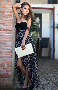 Sexy Leopard Print Irregular Hem Tube Dress