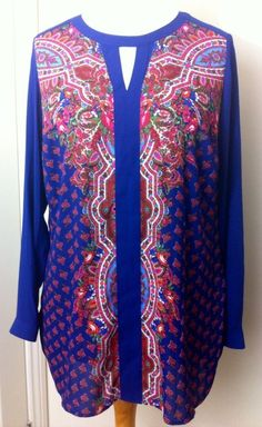 New - Womens M&S Collection Navy Blue Floral Print Long Sleeve Top UK Size 14