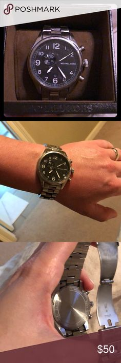 Michael Kors Men's Hangar Stainless Steel Watch Great shape — worn and well cared for by my husband.  Black face.  Few small scratches/scuffs to face.  Case and booklet included. Only needs new battery. Michael Kors Accessories Watches