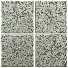 "Milton 2"" x 2"" Tozetto Medallion Floor and Wall Insert Tile in Pewter"