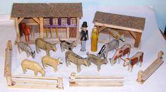 vintage Erzgebirge wooden toy farm animals sheds etc | eBay
