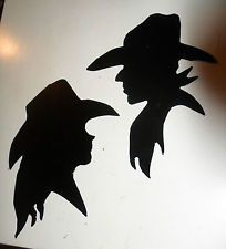 GLOSS BLACK metal Western COWGIRL & COWBOY signs plaques silhouettes