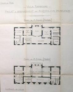 Projet d'aménagement de la villa Rambourg en Bibliothèque. 1er étage