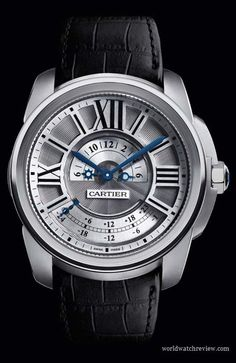 Calibre de Cartier Multiple Time Zones automatic watch (front view)