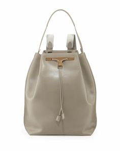 Leather Drawstring Hobo/Backpack, Gray by THE ROW at Neiman Marcus.