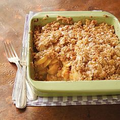 Apple Crisp Recipe Desserts with all-purpose flour, granulated sugar, light brown sugar, kosher salt, rolled oats, unsalted butter, granulated sugar, all-purpose flour, ground cinnamon, kosher salt, Fuji Apple, fresh lemon juice, cooking spray