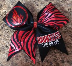 Dauntless the Brave Divergent inspired Cheer by Baddablingbows Pink Cheer Bows, Cute Cheer Bows, Cheer Hair Bows, Cheer Mom, Big Bows, Softball Bows, Cheerleading Bows, Cheer Stunts, Cheer Dance