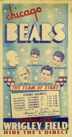Chicago Bears, The Team of Stars Bears Football, Cubs Baseball, Nfl Championships, Nfl History, Football Hall Of Fame, Bear Men, Vintage Crafts, National Football League, Advertising Poster