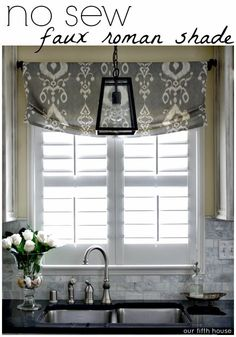 How To Make Kitchen Window Curtains.No Sew Kitchen Curtains From Tablecloths. Breakfast Nook Update: New Roman Shades Michaela Noelle . Decorating: French Door Curtains For Cute Interior Home . Home and Family Kitchen Window Treatments, Decor, Home Diy, Kitchen Sink Window, Interior, Home Decor, Window Coverings, House Interior, Faux Roman Shades