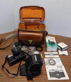 1970s Canon FTb 35mm SLR Camera w/Accessories