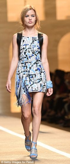 Brit babe: Georgia Jagger walks the runway at the Fendi Show during Milan Fashion Week
