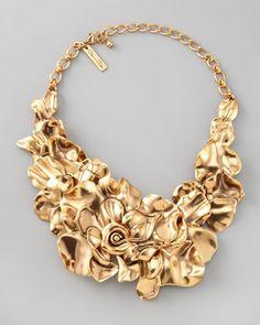 Large Flower Collar Necklace by Oscar de la Renta at Bergdorf Goodman.