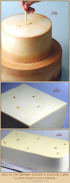 How to Use Wood Dowels in Stacked Cakes - Tutorial by Wicked Goodies