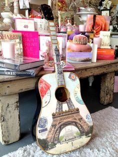 Paris, France Acoustic Guitar - Eiffel Tower & Gold Trim, Vintage Guitar, Music Wall Art, Blue Wood. $274.00, via Etsy.