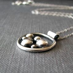 Sterling silver pebble necklace in recycled by BlackDaisyDesigns