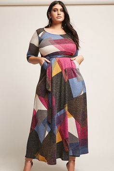 Plus Size Maxi Dress. The geometric print on this dress is gorgeous, and it has 3/4 sleeves, love!Forever 21+ - A brushed knit maxi dress featuring an allover multicolor geometric pattern, round neckline, 3/4 sleeves, self-tie sash at the waist, front sla