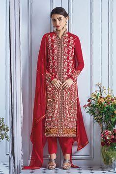 Red Color Georgette Fabric Salwar Suit