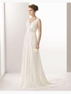 White Column V-Neck Sash Flower 2014 Wedding Dresses