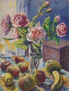 Gustave Camille Gaston Chariot (France, 1872-1950) Fleurs et fruits 1938