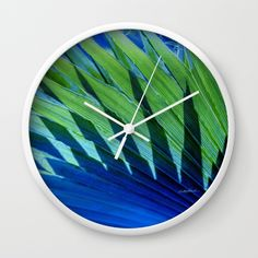 Palm Shadows Wall Clock by Vikki Salmela, new #tropical #photographic #digital #abstract #leaf #pattern on #home #fashion #accessory wall #clocks for #studio #office #contemporary environments or a special #gift. 20% off plus #Free #Worldwide #Shipping!