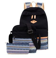 School Backpack Canvas Casual Bookbag Shoulder Bag for Teens Girls 3 in 1 Set (Black) -- You can find out more details at the link of the image.