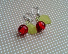 Rockabilly Cherry Earrings,Rockabilly Jewelry,Pin Up Accessories,Summer Jewelry,Costume Jewelry,Vintage Style,Red Glass Cherry Earrings