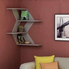 Astounding 8 Unique DIY Wall Shelves Design Ideas For Stunning Home Interior Decoration DIY wall rack design ideas in the living room can certainly change the style of interior design to be more modern. The DIY decoration on this wall is . Corner Shelf Design, Diy Corner Shelf, Floating Corner Shelves, Corner Wall Shelves, Floating Wall, Wall Bookshelves, Small Wall Shelf, Unique Wall Shelves, Wood Wall Shelf
