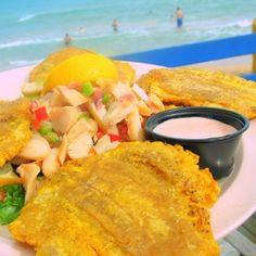 Tostones con ensalada de Carrucho (Conch Salad) at the Bahio Bar in the Sheraton Las Palmas, Puerto Rico.