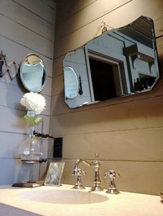 Love the mirror and vase in test tube holder hallway-powder-room-ideas