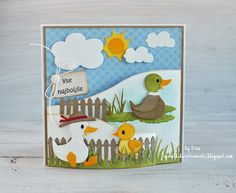 Handmade Bendy Card by DT member Tina with Craftables Bendy Card (CR1402), Grass (CR1355), Seed pocket and Garden Tools (CR1395), Collectables Eline's Duck Family (COL1428) and Fence (White Picked Fence (COL1423) from Marianne Design