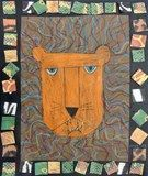 "Fierce Portraits: Students discussed many interesting lion facts and viewed the colorful lion paintings of artist Leroy Neiman. Using a variety of lines, they created a fierce lion portrait. Students framed their own work using mosaic squares featuring a variety of animal patterns and textures which give their drawings a ""safari"" look."