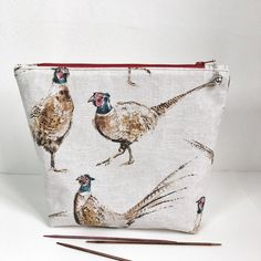 Pheasant project bag project bag Knitting by AntlerAndAcorn