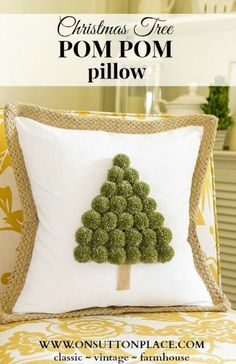 this Christmas Tree Pom Pom Pillow for yourself or as a gift. It's easy, festive and fun!Make this Christmas Tree Pom Pom Pillow for yourself or as a gift. It's easy, festive and fun! Christmas Crafts To Make And Sell, Christmas Sewing Projects, Crafts For Teens To Make, Winter Crafts For Kids, Christmas Cushions To Make, Christmas Pom Pom Crafts, Christmas Pillow Covers, Christmas Fabric, Christmas Knitting