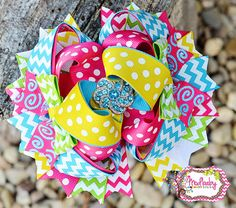 Summer Chevron Bow, OTT Bow, over the top hair bow, stacked bow, Spring bow… Funky Bow, Chevron Bow, Fabric Flower Headbands, Baby Girl Hair Accessories, Hair Bow Tutorial, Boutique Hair Bows, Diy Hair Bows, Ribbon Bows, Ribbons