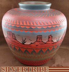 Navajo Hand Crafted Pottery by Native American Indian Artist Ernie Watchman KS50488