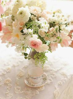 Rambling wild English flowers in pretty pastels wedding BLISSFUL Blush on Lace Table