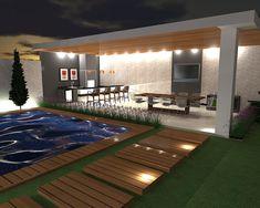 Espaço Gourmet e Área de Lazer: Piscinas modernas por Studio Beatriz Neves Backyard Garden Landscape, Small Backyard Pools, Backyard Patio Designs, Modern Backyard, Swimming Pools Backyard, Outdoor Rooms, Outdoor Living, Modern Pool House, Richmond Homes