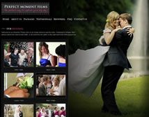 Affordable wedding video web design for Perfect Moment Films