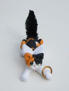 Polymer Clay Calico Cat Figurine Christmas Ornament Angel. $16.95, via Etsy.