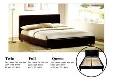 Faux Leather Platform Bed with Built In Box Spring and Headboard - http://www.furniturendecor.com/faux-leather-platform-bed-with-built-in-box-spring-and-headboard-full/