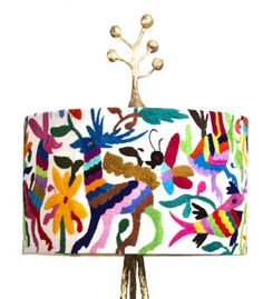 Incredible otomi floor lamp. Love the bright colors with the metallic gold, not to mention the embroidered detail!