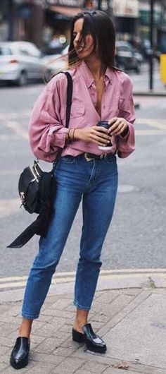 cute outfit idea: shirt + jeans + bag