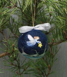 Waldorf needle felted Christmas ornament ball Angel wool