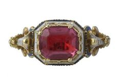 Renaissance Gemstone Ring Italy? Mid-16th CenturyGold Enamel and Spinel