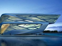 Spectacular Zaha Hadid Futuristic Architecture Inspiration: Astounding Leaf Inspired Abu Dhabi Performing Arts Centre Exterior Design With N. Zaha Hadid Architecture, Zaha Hadid Buildings, Futuristic Architecture, Amazing Architecture, Contemporary Architecture, Art And Architecture, Museum Architecture, Organic Architecture, Futuristic Design